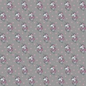 Unicorn - Gray & Hot Pink, Unicorn and Stars - TINY