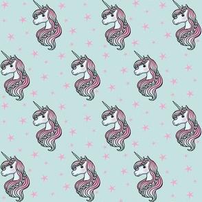 Unicorn - Teal & Hot Pink, Unicorn and Stars -  SMALL