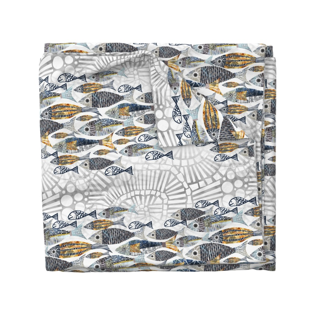 Wyandotte Duvet Cover featuring catch of the day by mimipinto
