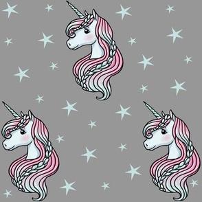 Unicorn - Gray & Teal, Unicorn and Stars - MEDIUM