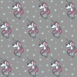 Unicorn - Gray & Teal, Unicorn and Stars - SMALL
