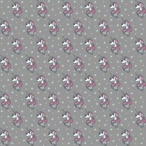 Unicorn - Gray & Teal, Unicorn and Stars - TINY