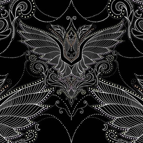Vampire bat damask