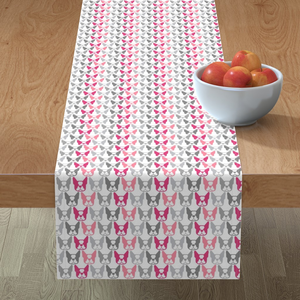 Minorca Table Runner featuring Bostons in a row - Terrier faces in pinks and grays by cheekyhodgepodge