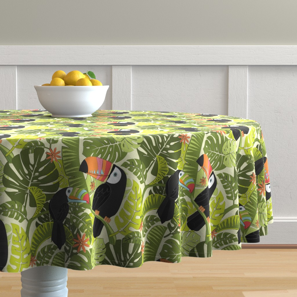 Malay Round Tablecloth featuring toucan-pattern_2 by michaelzindell