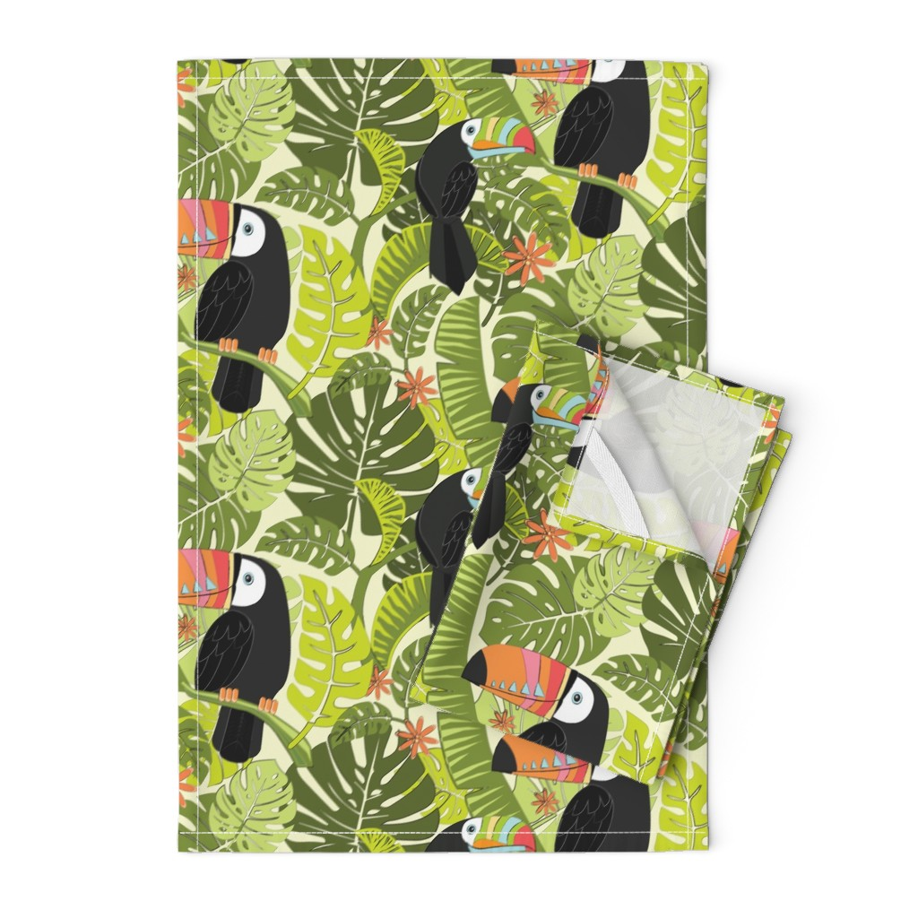 Orpington Tea Towels featuring toucan-pattern_2 by michaelzindell
