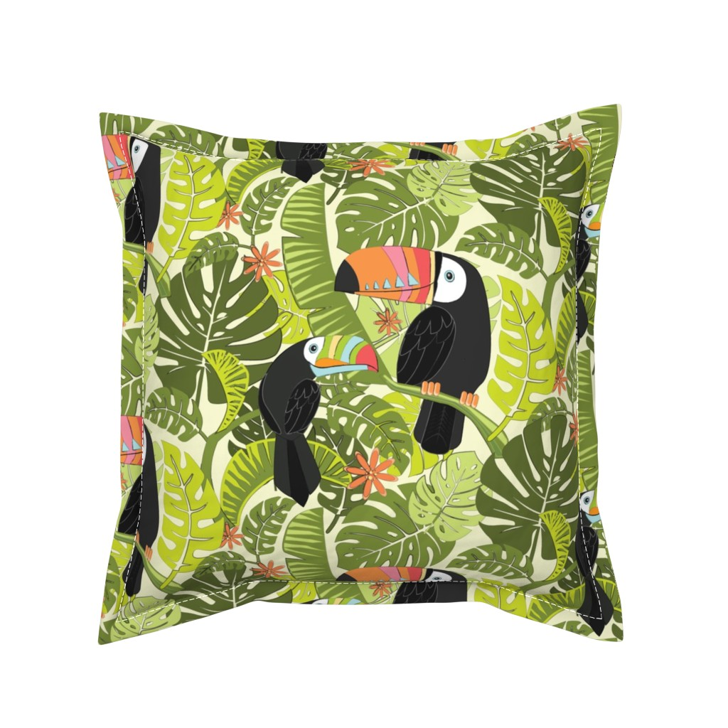 Serama Throw Pillow featuring toucan-pattern_2 by michaelzindell