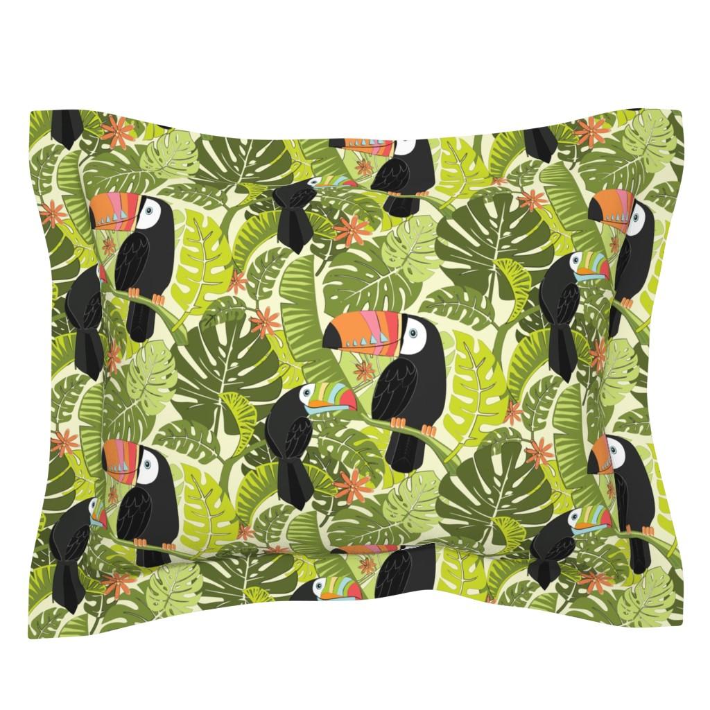 Sebright Pillow Sham featuring toucan-pattern_2 by michaelzindell