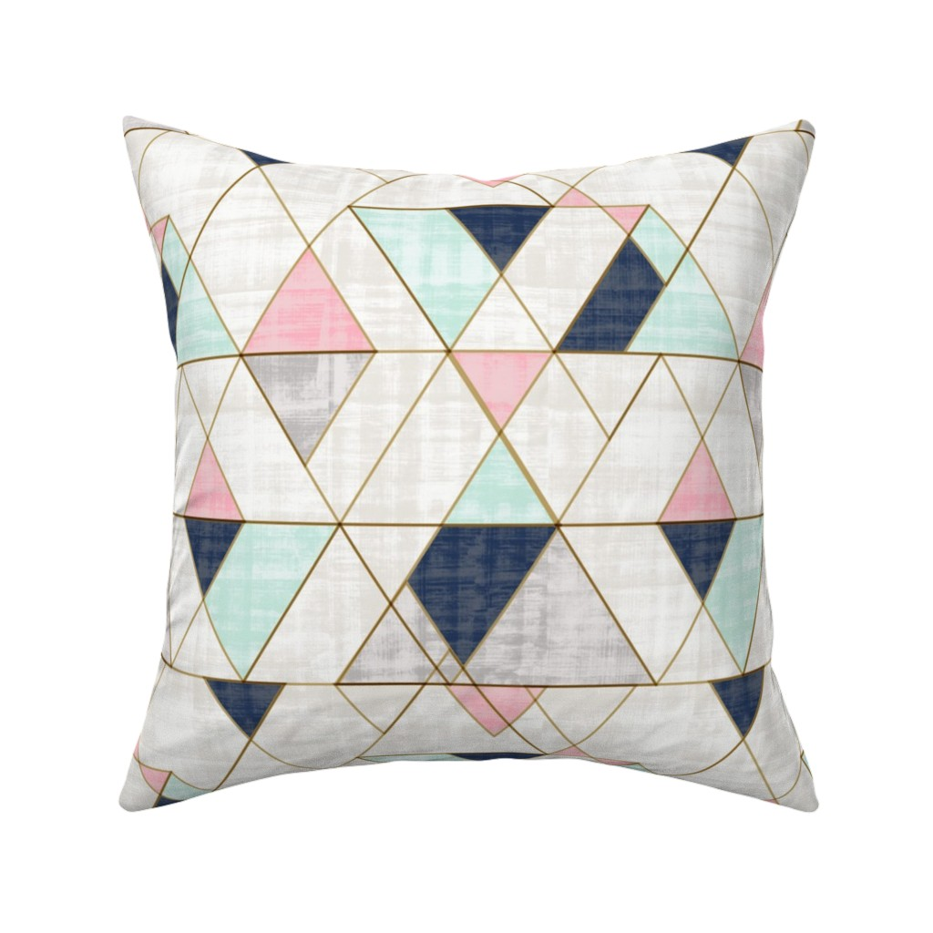 Catalan Throw Pillow featuring Mod Triangles Navy Mint Pink by crystal_walen