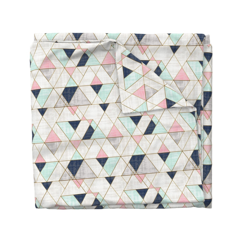 Wyandotte Duvet Cover featuring Mod Triangles Navy Mint Pink by crystal_walen