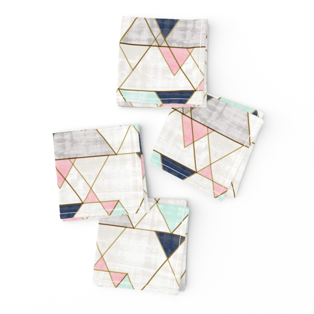 Frizzle Cocktail Napkins featuring Mod Triangles Navy Mint Pink by crystal_walen