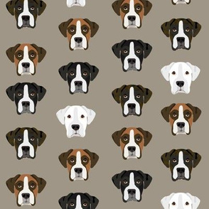 boxer dog fabric boxer dogs fabric boxer heads design - medium brown