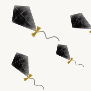 Watercolor kites - kids fun flying high black and white