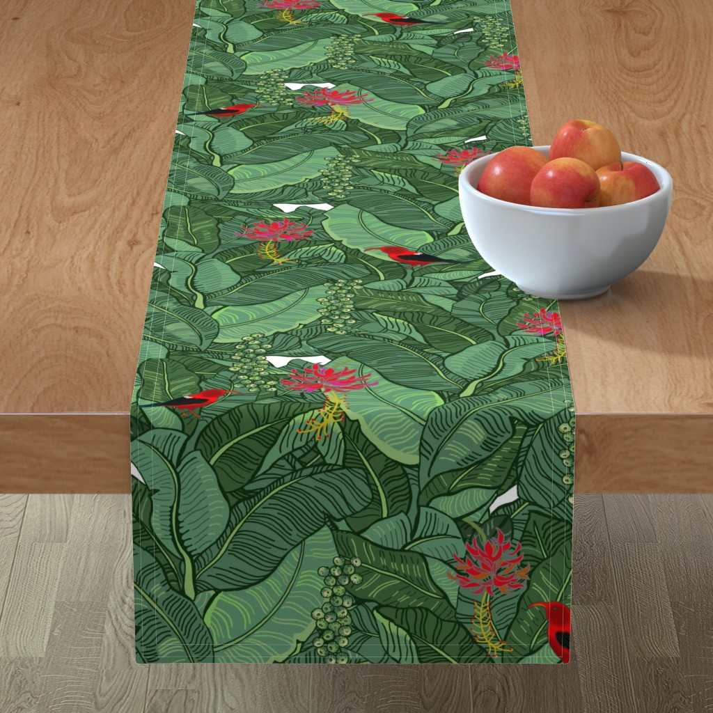 Minorca Table Runner featuring Hawaiian Rainforest I'iwi Bird Sighting by honoluludesign