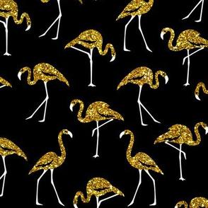 gold glitter flamingos - black