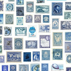 Blue stamp collection: international stamps on white