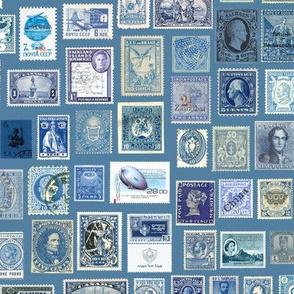 blue stamp collection: international stamps on cadet blue