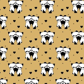 Origami love animals cute panda geometric triangle and scandinavian style print black and white gender neutral ochre