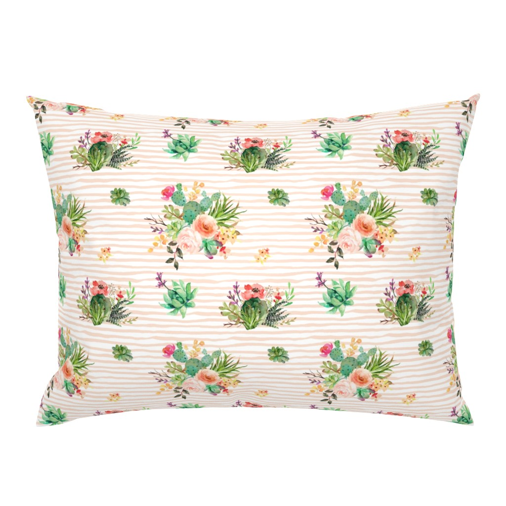 """Campine Pillow Sham featuring 8"""" She is Fierce Floral Stripes / PEACH by shopcabin"""