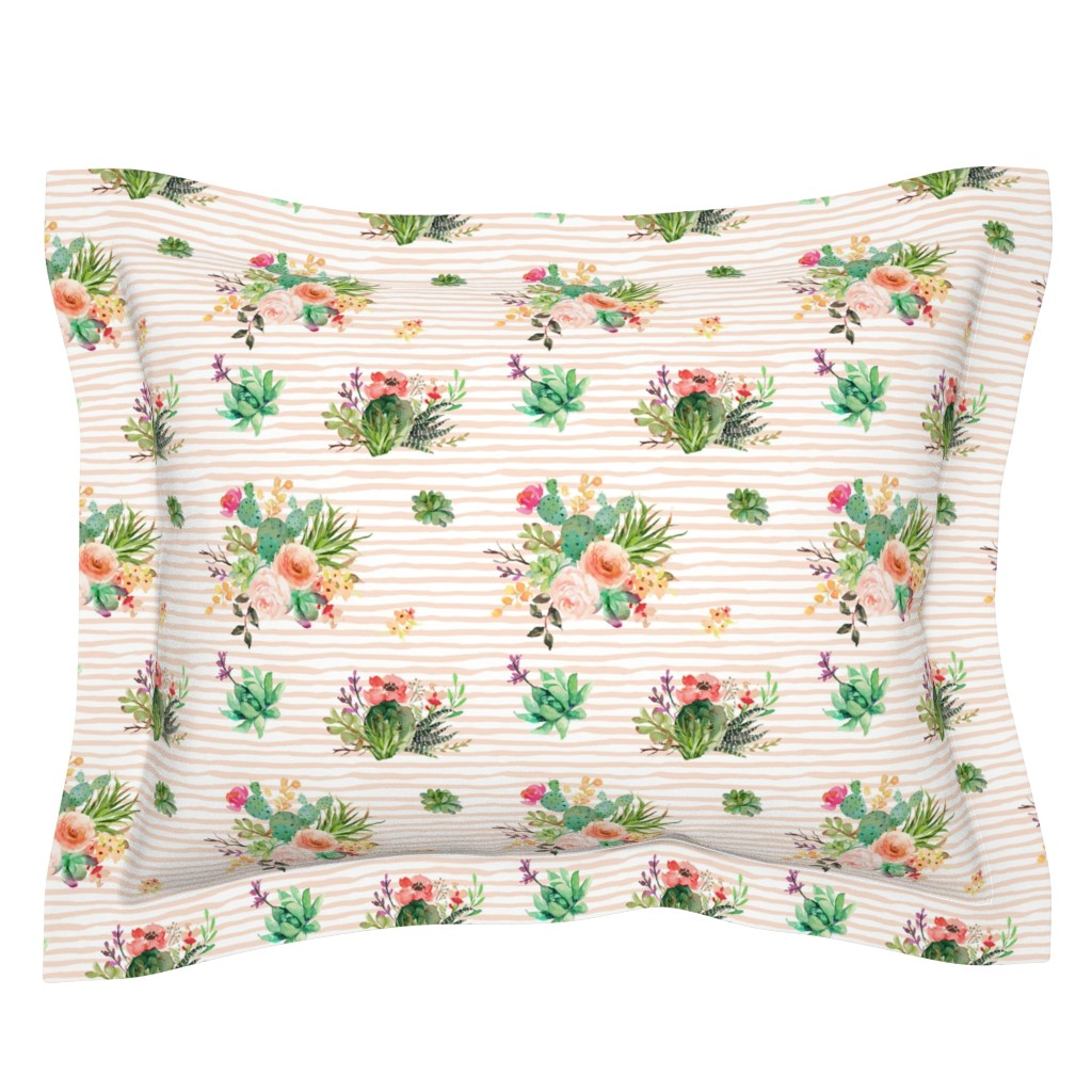 "Sebright Pillow Sham featuring 8"" She is Fierce Floral Stripes / PEACH by shopcabin"