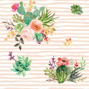 "8"" She is Fierce Floral Stripes / PEACH"