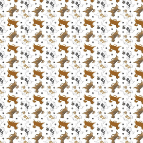 Trotting long coat Chihuahuas and paw prints B - tiny white