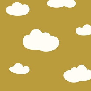 clouds - white on mustard