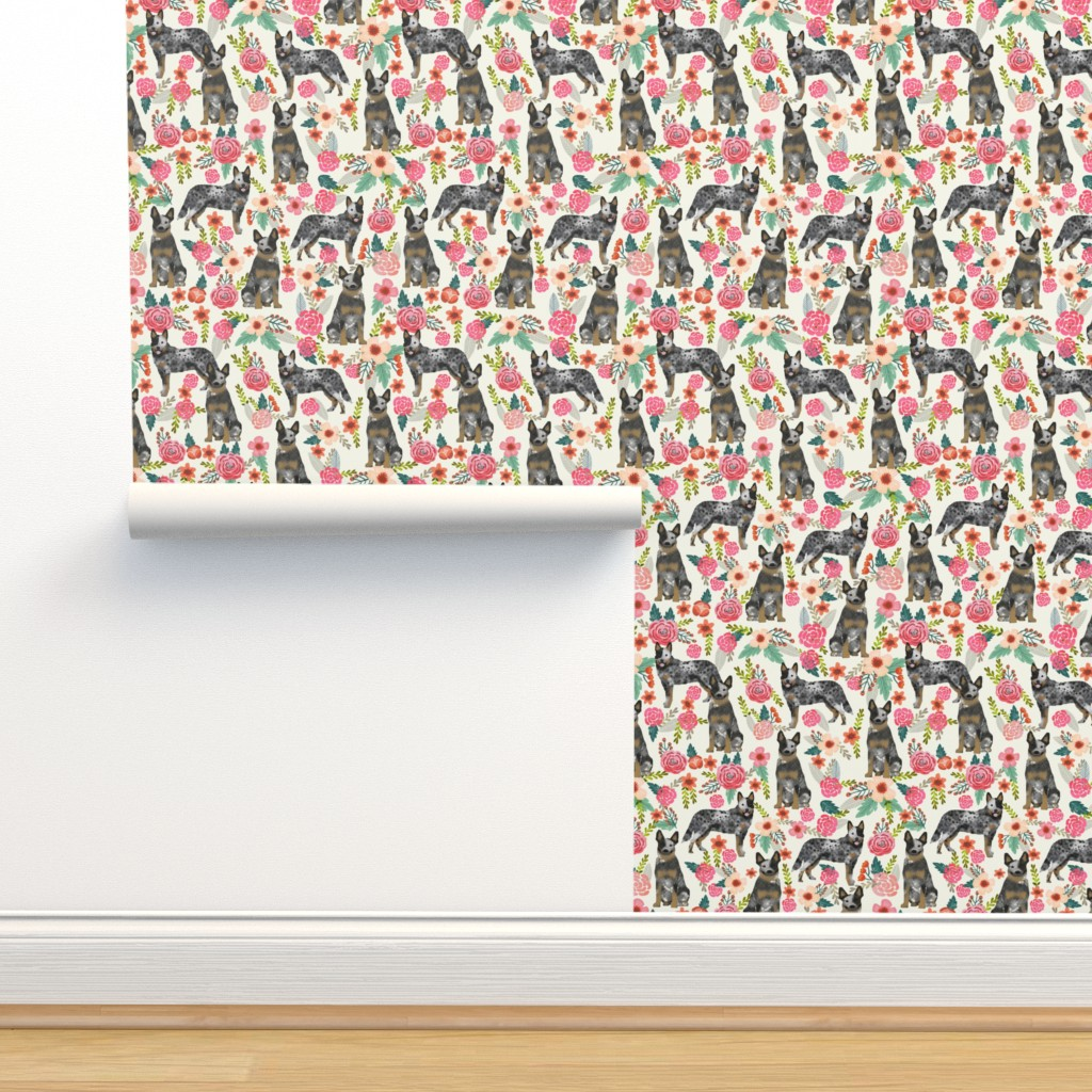 Isobar Durable Wallpaper featuring Australian Cattle Dog florals cream by petfriendly