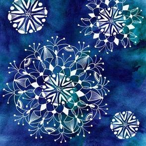 Mandalas on watercolor background