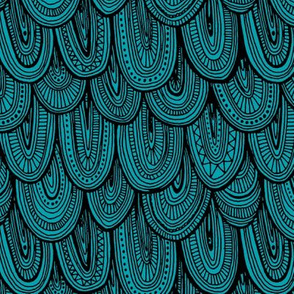 Doodle Scales - Sewing Swatches Black on Turquoise