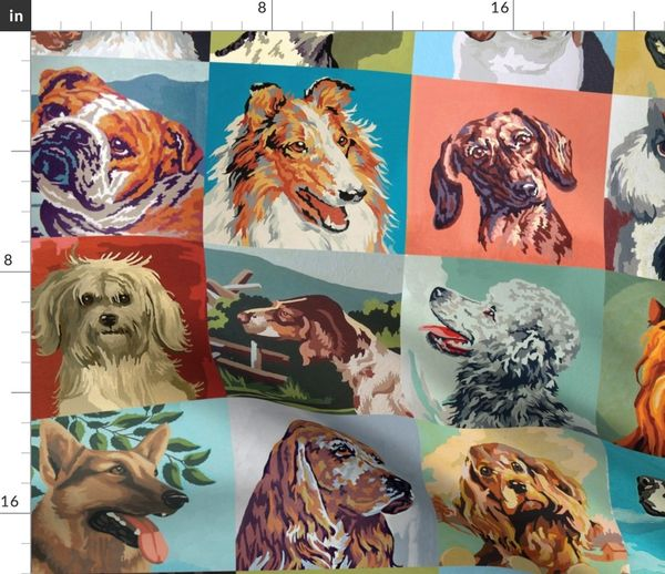 Fabric By The Yard Paint By Numbers Dogs Large