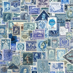 blue postage stamp collage, seamless repeat
