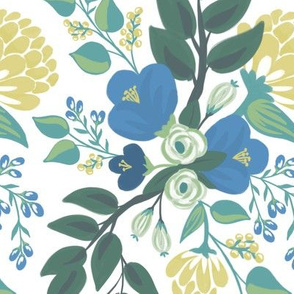 Blue Blossoms on White