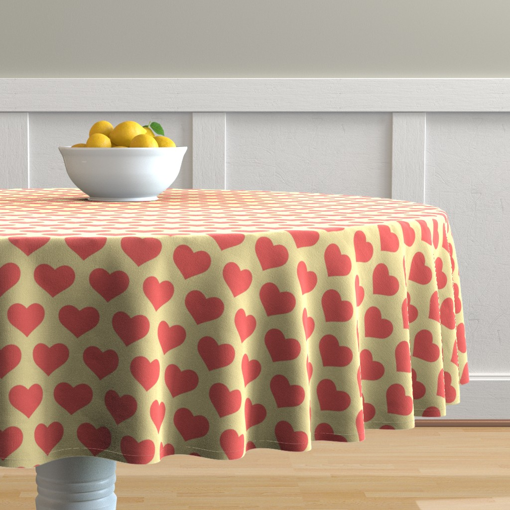 Malay Round Tablecloth featuring Classic Heart Pattern in Pastel Red & Yellow Colors by cloudycapevintage
