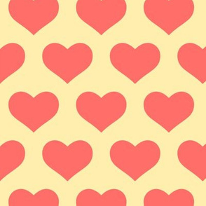 Classic Heart Pattern in Pastel Red & Yellow Colors