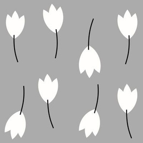 Tulips - white on grey flowers autumn floral || by sunny afternoon