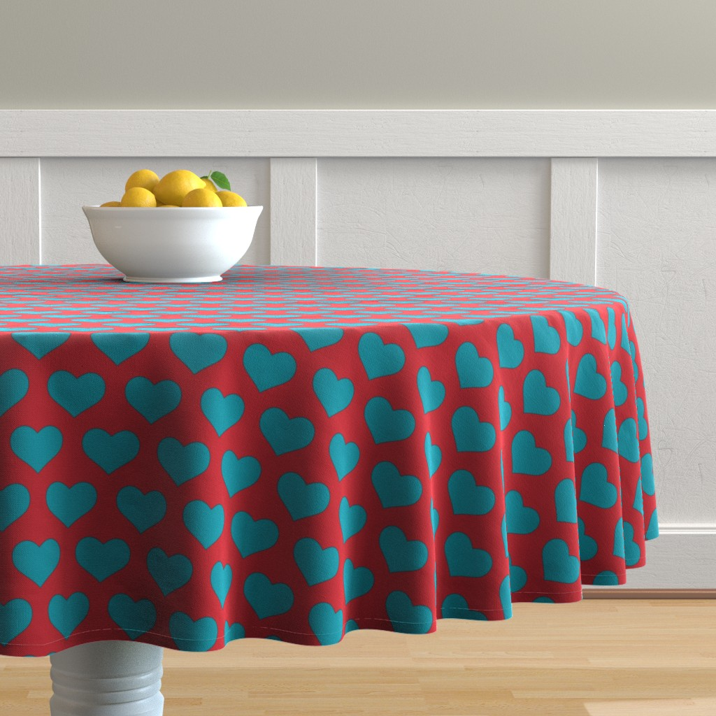 Malay Round Tablecloth featuring Classic Heart Pattern in Teal & Red Colors by cloudycapevintage