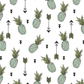 Tropical indian summer pineapple fruit geometric arrows soft green gender neutral