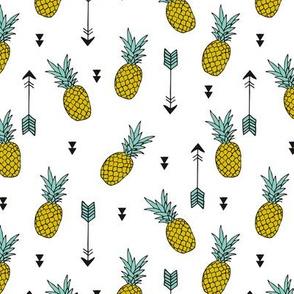 Tropical indian summer pineapple fruit geometric arrows yellow green gender neutral