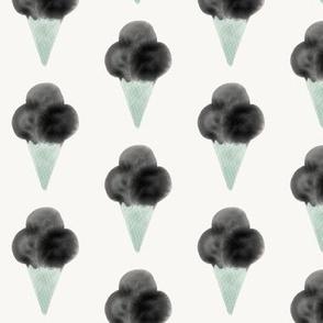 watercolor ice-cream cone - mint and black