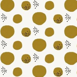 Watercolor abstract - watercolor dots large dots mustard black