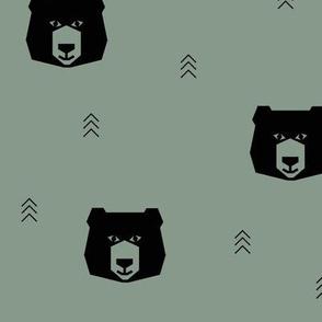 bear head geometric bears - jade smokey green