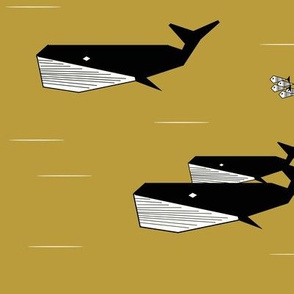 geometric whales - black and white on mustard, sea animals ocean