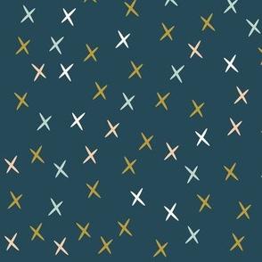 Stars tiny crosses - navy blue