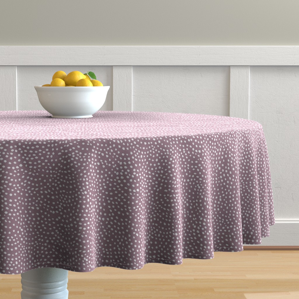 Malay Round Tablecloth featuring scalloping dots // pantone 79-5 by ivieclothco
