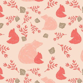 Woodland Momma Bear and Cub Pink Coral