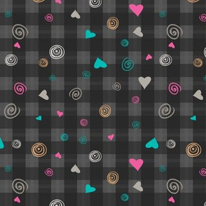 hearts and squiggles plaid