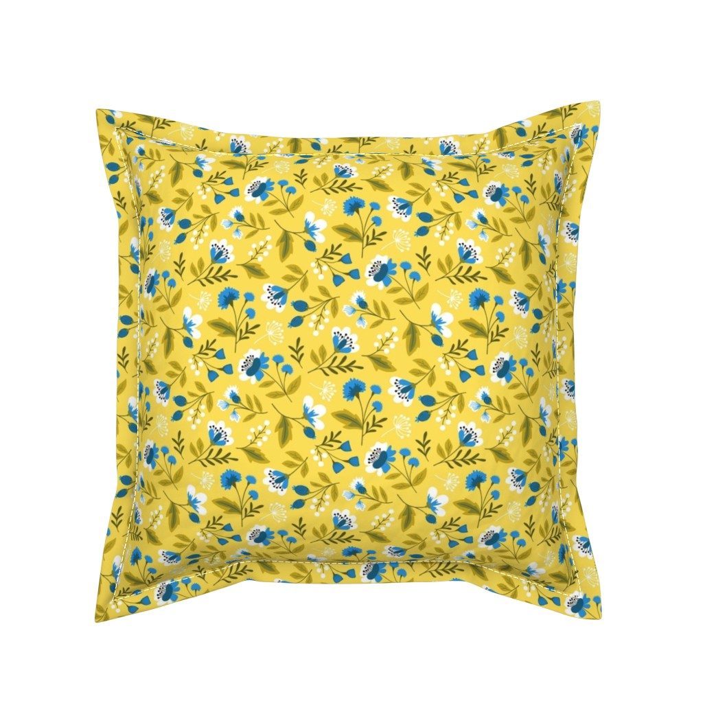 Serama Throw Pillow featuring Small colorful spring flowers blue on yellow by heleen_vd_thillart