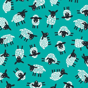 Little ditsy sheep teal