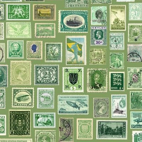 green stamp collection: international stamps on vintage green